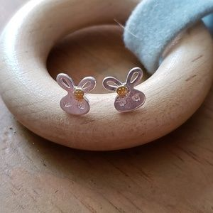 Silver Bunny Rabbit Stud Earrings (925 stamped)